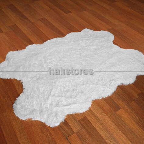 Yıkanabilir Uzun Tüylü Beyaz Post Halı 140 x 200