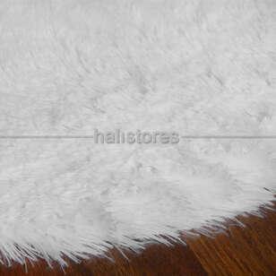Yıkanabilir Uzun Tüylü Beyaz Post Halı 140 x 200 - Thumbnail