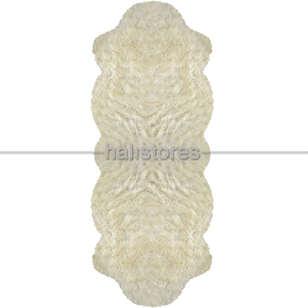 Yıkanabilir Uzun Tüylü Kemik Post Halı 80 x 200 - Thumbnail