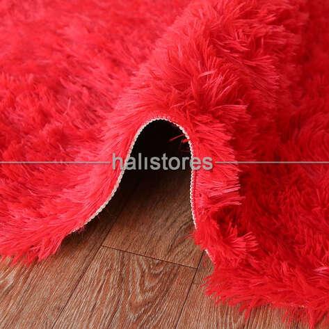 Yıkanabilir Uzun Tüylü Kırmızı Post Halı 80 x 200