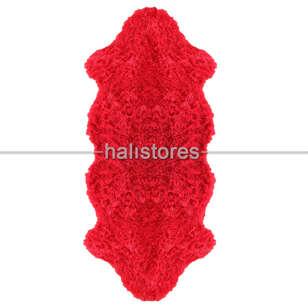 Yıkanabilir Uzun Tüylü Kırmızı Post Halı 80 x 200 - Thumbnail