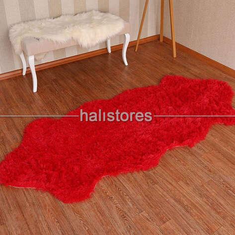 - Yıkanabilir Uzun Tüylü Kırmızı Post Halı 80 x 200 (1)