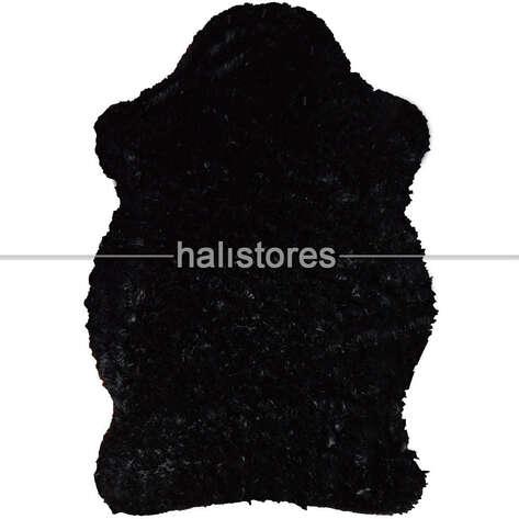 Yıkanabilir Uzun Tüylü Siyah Post Halı 80 x 140