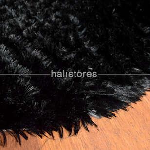 Yıkanabilir Uzun Tüylü Siyah Post Halı 80 x 140 - Thumbnail