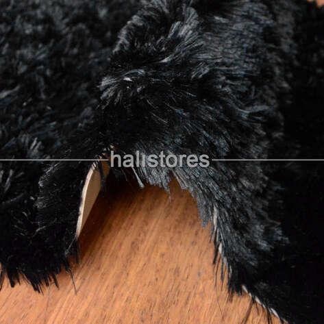 Halıstores - Yıkanabilir Uzun Tüylü Siyah Post Halı 80 x 200 (1)