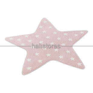 Halıstores - Yıldız Desenli Pembe Bebek ve Çocuk Halısı (1)