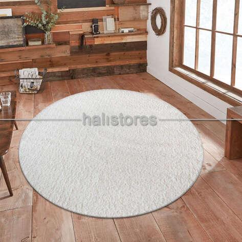 - Yumuşak Tüylü Yuvarlak Halı Comfort 1006 Beyaz (1)