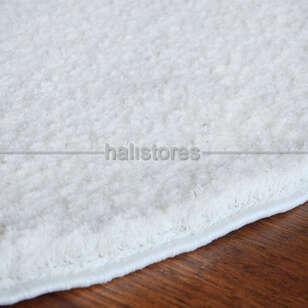 Yumuşak Tüylü Yuvarlak Halı Comfort 1006 Beyaz - Thumbnail