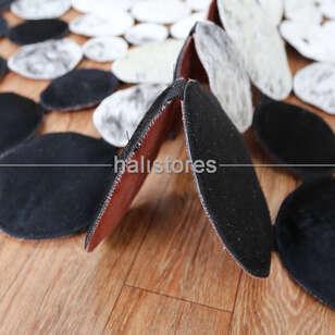 Yuvarlak Deri Halı Siyah-Beyaz Geçişli - Thumbnail
