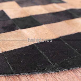 Yuvarlak Deri Patchwork Halı Siyah - Thumbnail